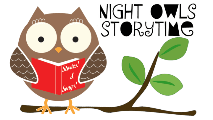 NightOwls Storytime Owl sitting on a branch